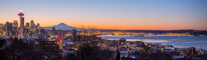 The Space Needle, Mt Rainier and Elliot Bay at the last sunrise