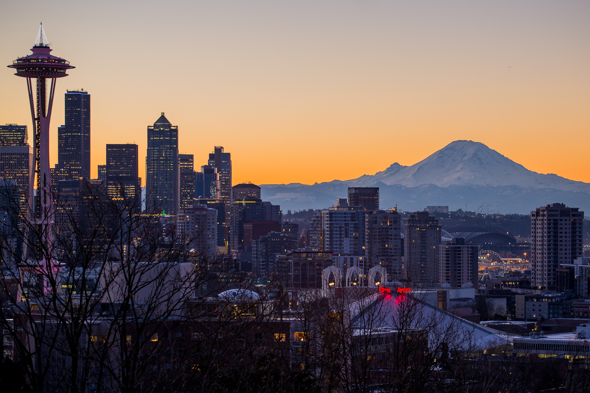 The last sunrise of 2015 over the Space Needle and Mt. Rainier